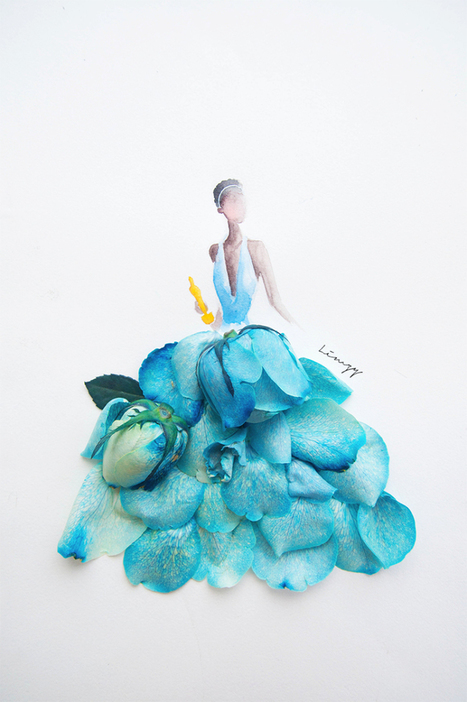 Beautiful illustration of women created using water color and real flowers by Lim Zhi Wei   Strange days indeed...   Scoop.it