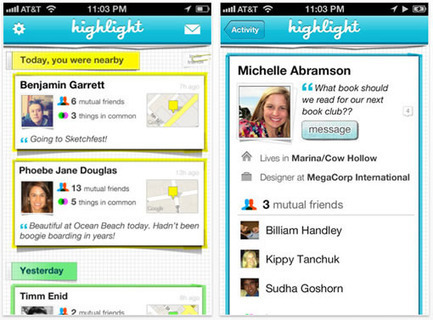 Highlight, l'application 100% SoLoMo | e-biz | Scoop.it