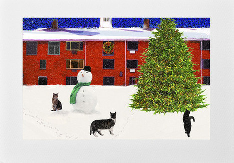 Handmade Cat Card: Three Cats and Snowman | Deborah Julian Art | Good News worth Sharing | Scoop.it