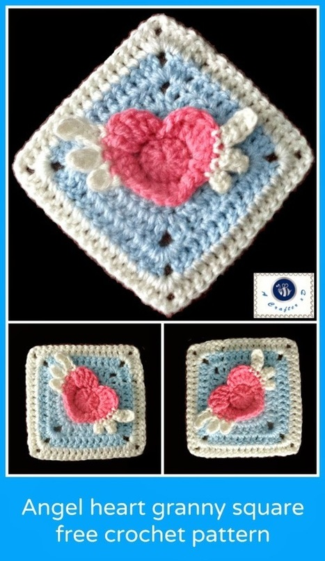 Crochet Granny Square Heart Patterns : Angel heart granny square - free crochet patter...