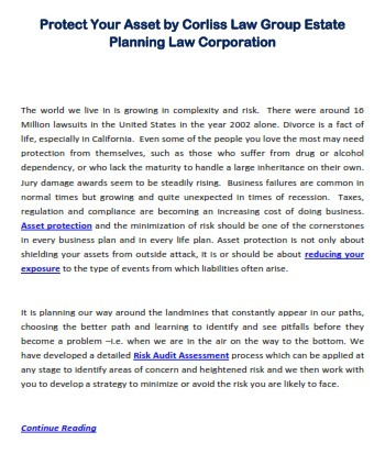 Protect Your Asset by Corliss Law Group Estate Planning Law Corporation | Corliss Law Groups | Scoop.it