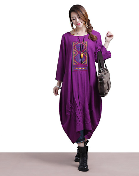 Casual woman in purple linen sleeve embroidery totem Dress | Ladies Fashion | Scoop.it