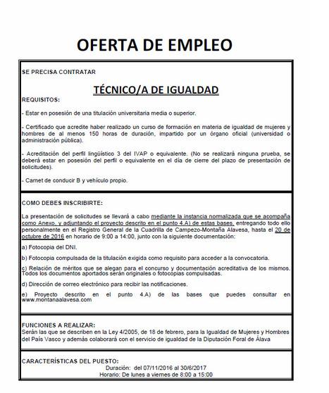 Oferta de empleo: Contratación técnico de igualdad para la Cuadrilla de Campezo-Montaña Alavesa. | Mendialdea.info | Scoop.it