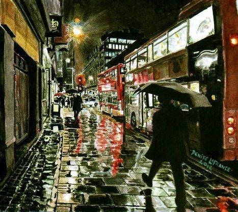 Rainy Night In London~Watercolor by DeniseLaFrance   Watercolor   Scoop.it