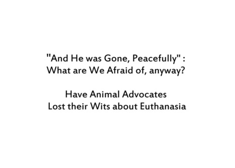 """""""And He was Gone, Peacefully;"""" What are We Afraid of, anyway? Have Animal Advocates Lost their Wits about Euthanasia   TOK Resources   Scoop.it"""