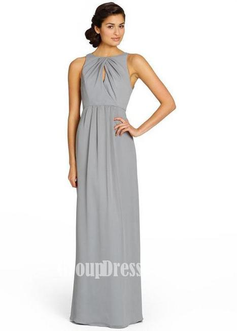 Cross-over Key Hole Draped Bodice Pewter Chiffon Long Bridesmaid Gown | Woman Wedding Dresses | Scoop.it