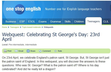 Webquest: Celebrating St George's Day: 23rd April | English for International Students | Scoop.it