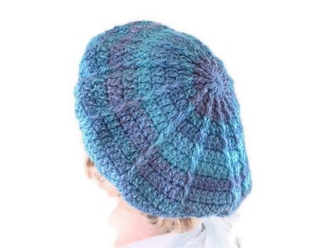 Crochet Chunky Beret or Tam in Purple, Blue & Teal. Hat, Accessories. | All Crochet | Scoop.it