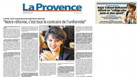 Notre réforme, c'est tout le contraire de l'uniformité – Entretien au journal La Provence | Najat Vallaud-Belkacem | Educadores innovadores y aulas con memoria | Scoop.it