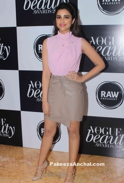 Parineeti Chopra in Pink top and Leather wrap skirt from Madison | Indian Fashion Updates | Scoop.it