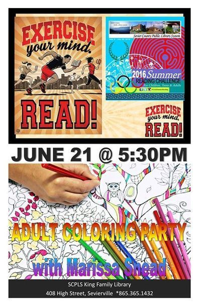 Adult Summer Reading Challenge: Adult Coloring Party - 21/06/2016 | Tennessee Libraries | Scoop.it