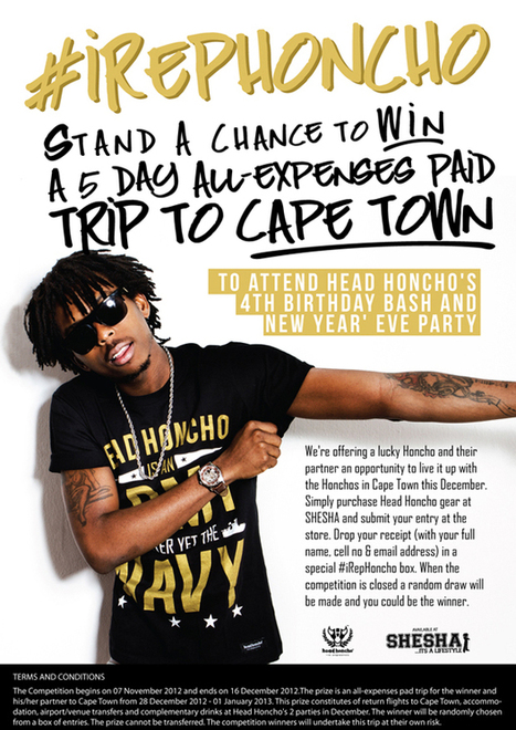 #iRepHoncho: Win a 5-Day All Expenses Paid Trip to Cape Town with Head Honcho | Head Honcho | Cape Party -  Cape Town | Scoop.it
