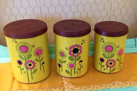 Half Off Sale Vintage lot of 3 1960s Mod Yellow Metal Storage Canisters Multipurpose Containers | New Vintage Etsy Shop Valleyofthedollies | Scoop.it