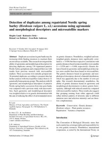 Detection of duplicates among repatriated Nordic spring barley (Hordeum vulgare L. s.l.) accessions using agronomic and morphological descriptors and microsatellite markers | Agricultural Biodiversity | Scoop.it