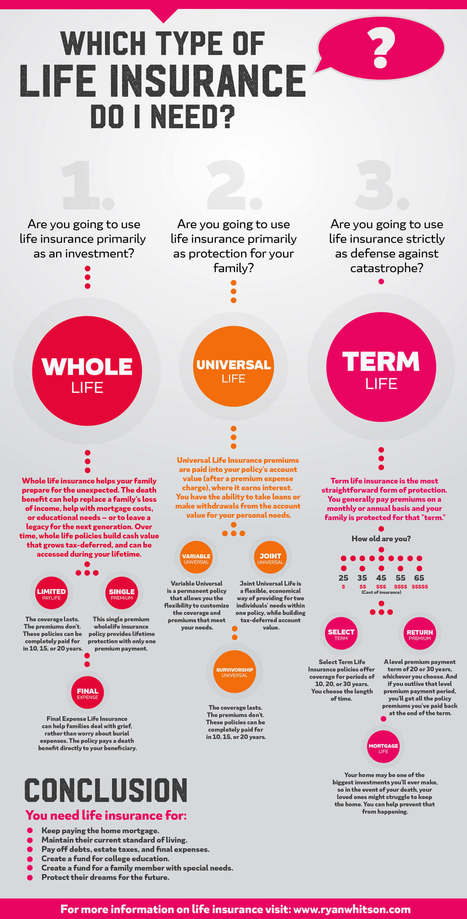 What Type of Life Insurance Do I Need? [INFOGRAPHIC] | Infographics by Infographic Plaza | Scoop.it