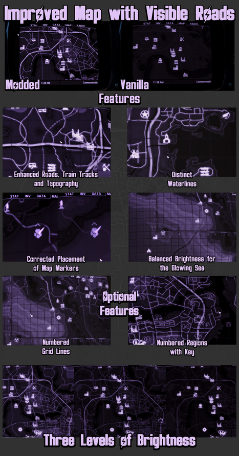 Improved Map with Visible Roads at Fallout 4 Nexus - Mods and community | Game Mod Culture | Scoop.it