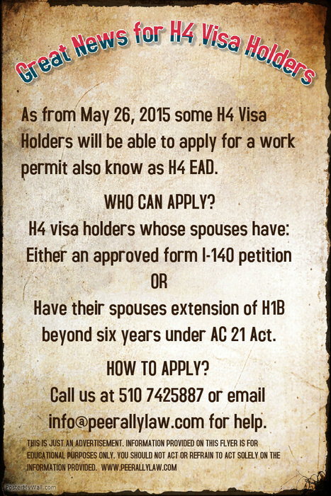 What are my options on H4 visa? H4 Visa Attorney Attorney California | Peerally Law Group For Immigration Law | Scoop.it