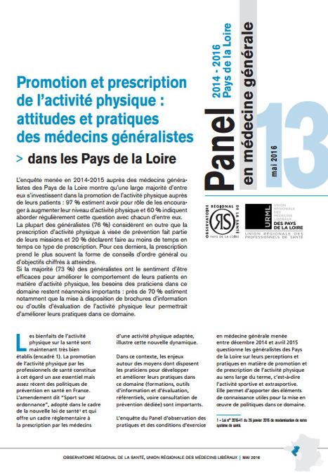 ORS &gt; Trois m&eacute;decins g&eacute;n&eacute;ralistes sur quatre estiment que la prescription<br/>d&rsquo;activit&eacute; physique fait partie<br/>de leurs missions   Observer les Pays de la Loire   Scoop.it