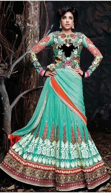 Elegant Greenish Blue Net Designer Lehenga Choli | fashionheena.com | Scoop.it