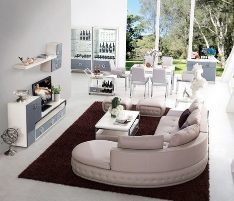 Contemporary Cream Hued Comfy Leather Sectional Sofas | MeublesBH | Scoop.it