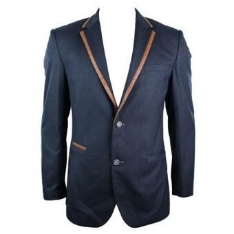 Mens Slim Fit Blazer Jacket Navy Blue Tan Brown Trim Elbow Patch Smart Casual | Mens clothing | Scoop.it