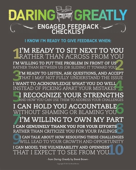 Daring Greatly Engagement Checklist - Brené Brown | Teaching and Learning | Scoop.it