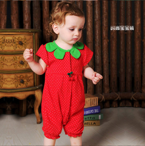 Pure cotton strawberry cheap baby onesies summer red clothes | short-sleeves costumes sale-pajama.com | Scoop.it