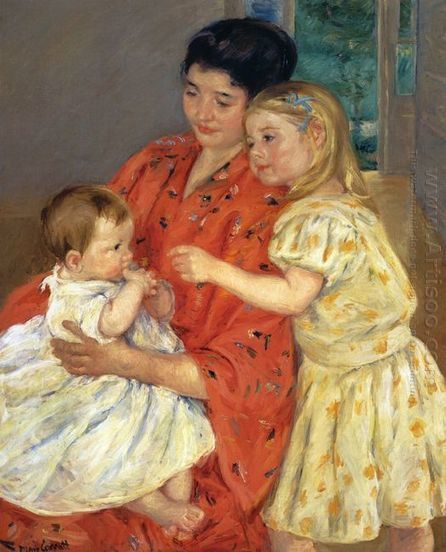 Oil painting reproduction: Mary Cassatt Mother And Sara Admiring The Baby - Artisoo.com | arts&oil | Scoop.it