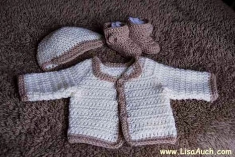Free Crochet Patterns and Designs by LisaAuch: Free Crochet Pattern for a Newborn Baby Cardigan (EASY) | Crochet Crochet Crochet.... | Scoop.it
