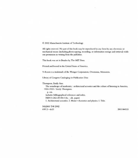 THOMPSON, Emily. The Soundscape of Modernity.pdf | DESARTSONNANTS - CRÉATION SONORE ET ENVIRONNEMENT - ENVIRONMENTAL SOUND ART - PAYSAGES ET ECOLOGIE SONORE | Scoop.it