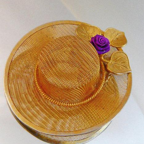 Vintage Gold Mesh Hat Brooch. Purple Rosebud Hat Pin.   I Love Vintage Jewelry   Scoop.it