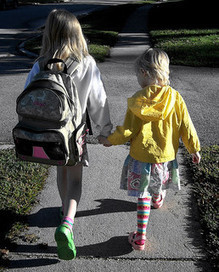 Free Two Happy Girls Holding Hands Walking to School at Sunrise Creative Commons | Baby Pins! | My Favorite Topics | Scoop.it
