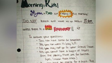 Parents Desperate to Sleep Leave Note for Kids | Troy West's Radio Show Prep | Scoop.it