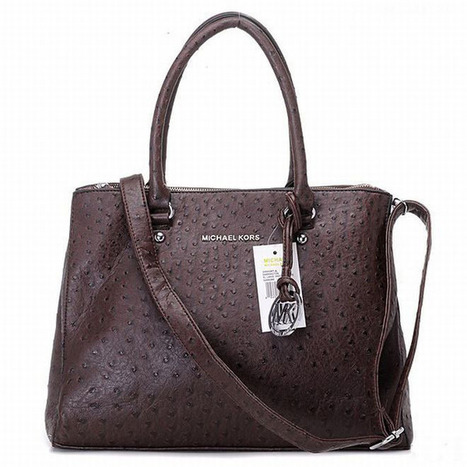 Michael Kors Bedford Ostrich Tote Coffee | my style | Scoop.it