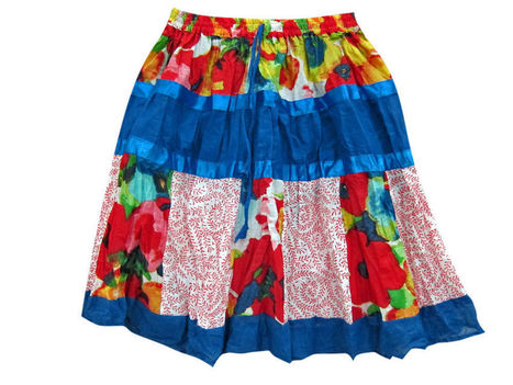 Crinkle Miniskirt Red Blue Floral Printed Cotton | Cotton Short Skirt | Scoop.it