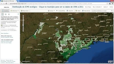 Distribuição do ICMS ecológico - Clique no município para ver os dados de 1996 a 2011   ArcGIS Geography   Scoop.it