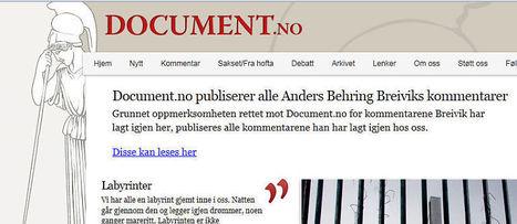 Breiviks avisprosjekt - Kommentar fra Anders Giæver, VG+ | Sosial på norsk | Scoop.it