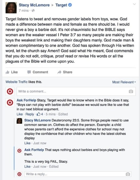 Facebook Troll Poses as Target Customer Service, Responds to Gender-Neutral Labeling Complaints | SEO Tips, Advice, Help | Scoop.it