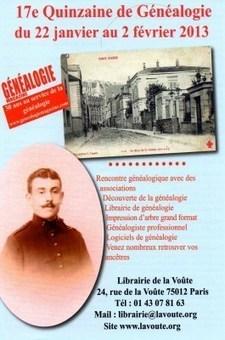 17e Quinzaine de Généalogie de la Librairie de laVoûte | Histoire Familiale | Scoop.it