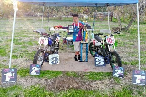 Aiden Bromstead surrounded by all of the awards, trophies and plaques that refle... | California Flat Track Association (CFTA) | Scoop.it