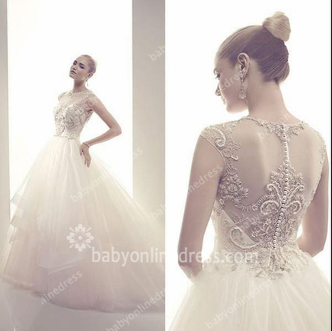 2015 Fantastic Wedding Dresses High Neck Sheer Tulle Beading Sequins Pearls Cap Sleeve Ball Gown Bridal Dresses BO6034_New Ball Gown Wedding Dress_Ball Gown Wedding Dresses_Wedding Dresses_Buy High... | a la mode | Scoop.it