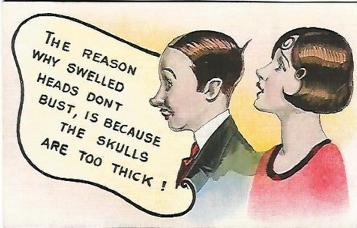 """Antique 1920 Cheeky Comic Couple """"The Reason Why Swelled Heads Don't Bust, Is Because The Skulls Are Too Thick!"""" 