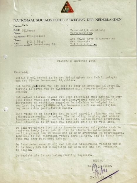 Tilburgse NSB'er vroeg burgemeester om rust in oorlogstijd | Regionaal Archief Tilburg | Scoop.it