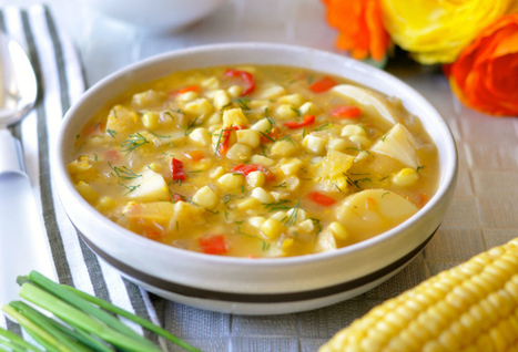 Easy Corn Chowder With Potatoes, Red Pepper & Dill | Vegan Food | Scoop.it