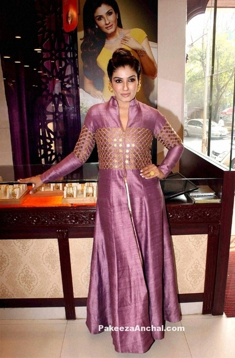Raveena Tandon in Long front Open Dress with mirror Work and Full Sleeves | Indian Fashion Updates | Scoop.it