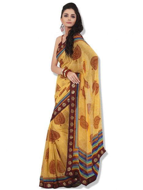 Crazora Yellow Faux Georgette saree CRS107 | Nice one | Scoop.it