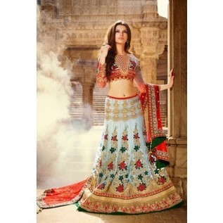Light Blue Net Lehenga With Maroon Net Dupatta & Heavy Zari & Resham Work - Lehenga - Moksha Fashions | Nice one | Scoop.it
