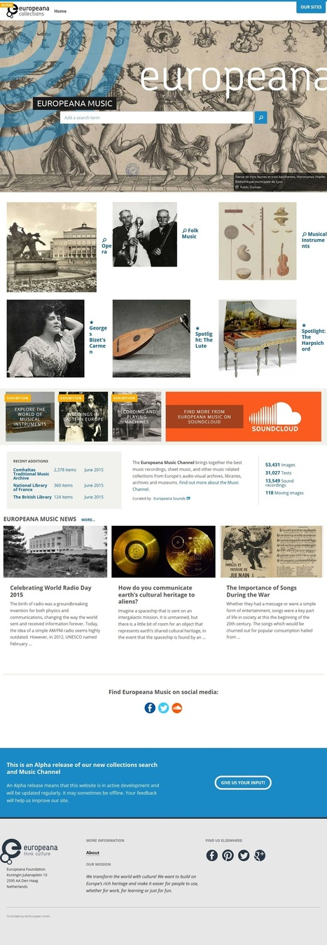 Testez la nouvelle chaîne Europeana Musique | Ce qui nous intéresse...ailleurs... | Scoop.it