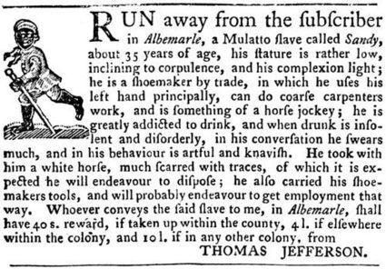 Thomas Jefferson's 1769 newspaper ad seeking a fugitive slave | General History | Scoop.it