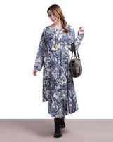 Printed linen short-sleeved round neck red summer dress | Ladies Fashion | Scoop.it